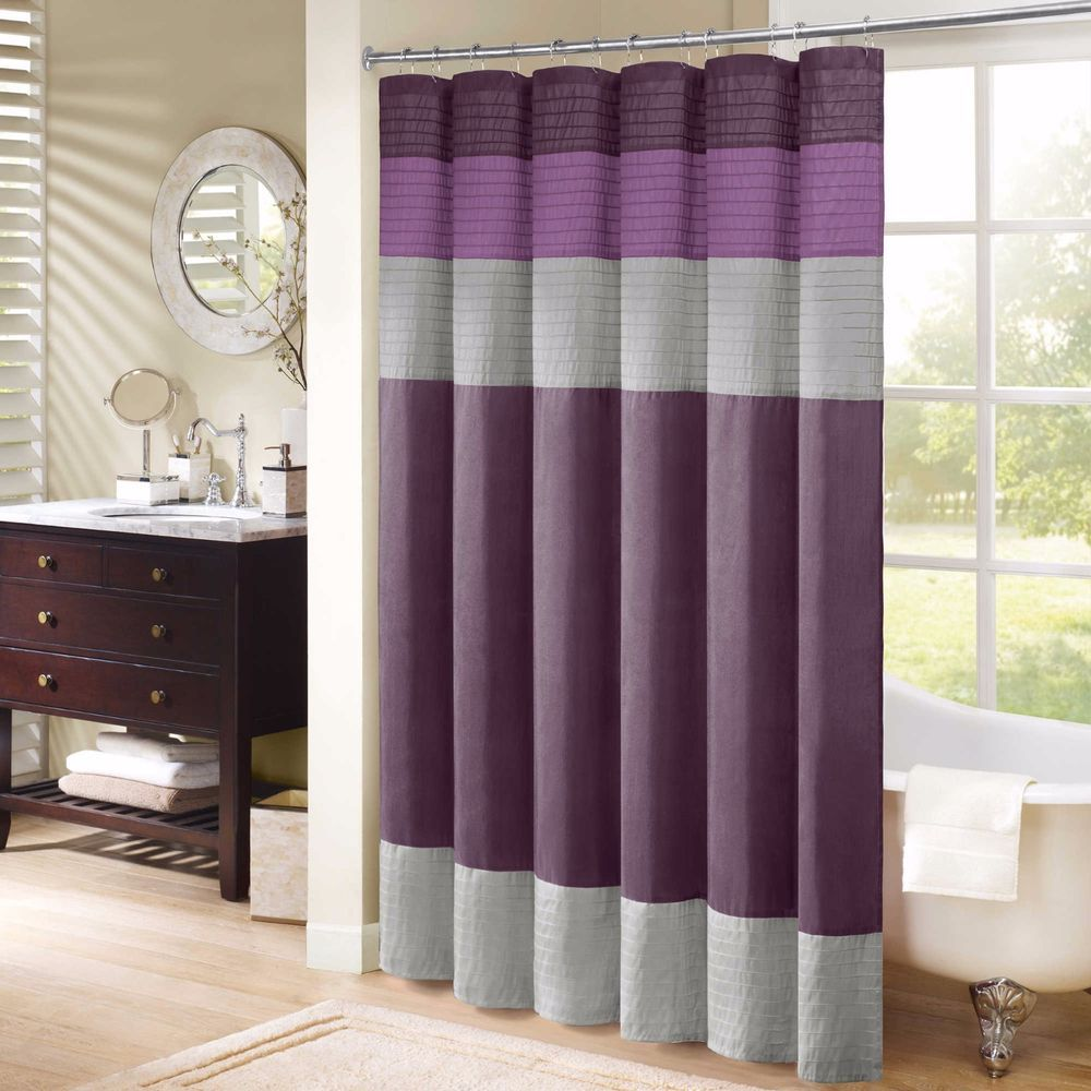 "Madison Park Amherst Shower Curtain Faux Silk 72"" x 72"" DEEP PURPLE & GREY NEW #MadisonPark #Amherst"