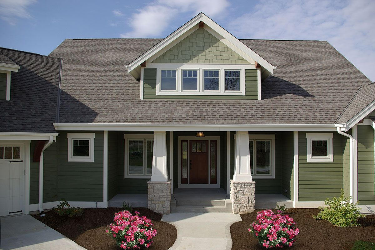 White Oak Residence Highland Builders House Paint Exterior Green Exterior House Colors Craftsman House