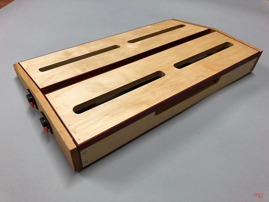 My diy pedalboard for uke (rear view): beech sides and