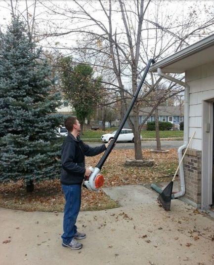 Pvc Onto The End Of Blower Genius Diy Gutters Home Repair
