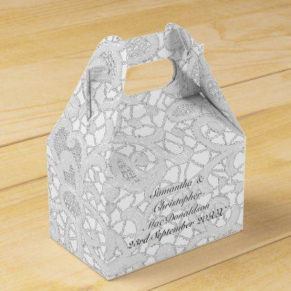 White Filigree Lace Damask Wedding Favor Box