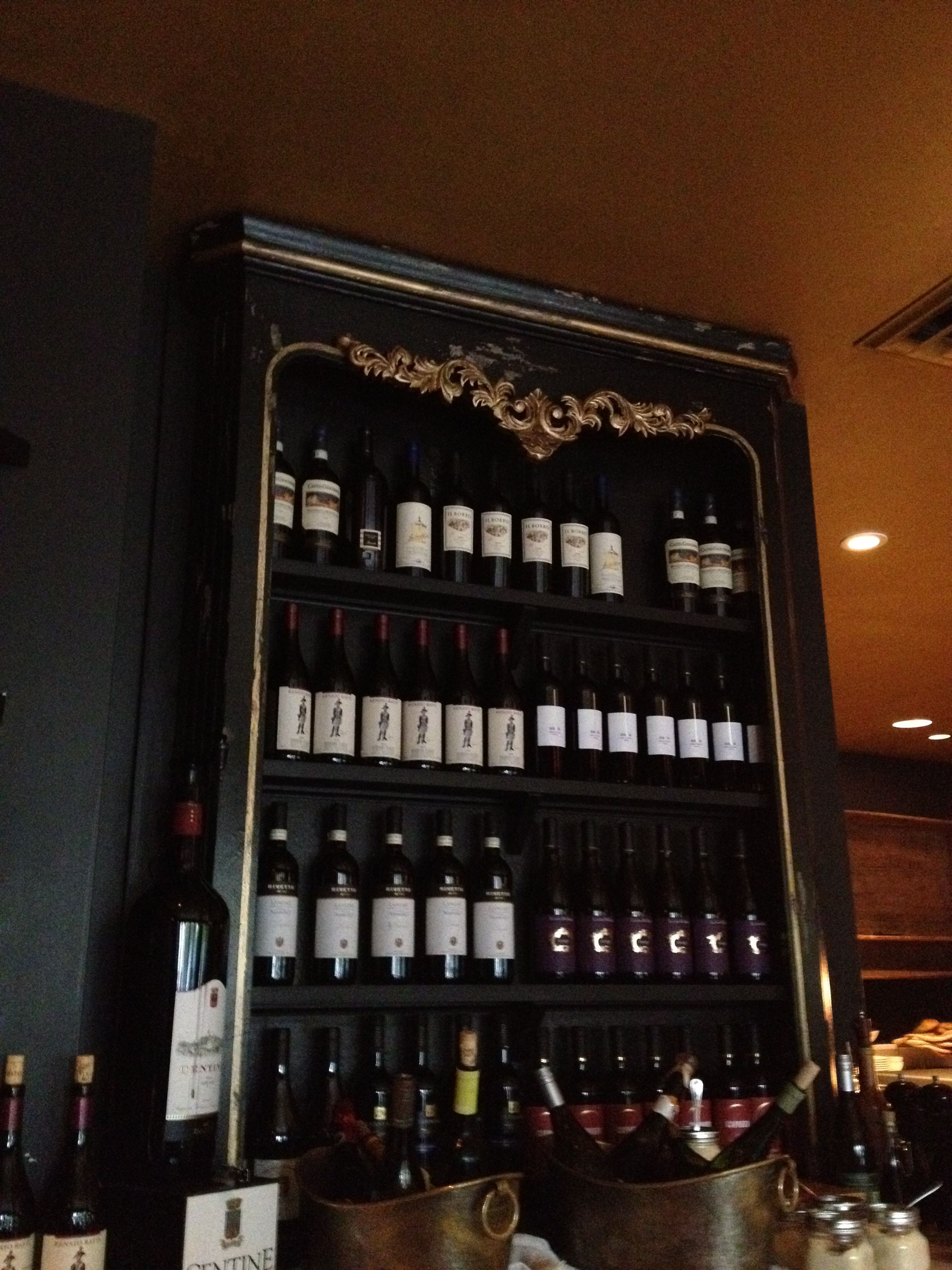 Wine hutch at Napolese Restaurant in Indianapolis, Indiana.