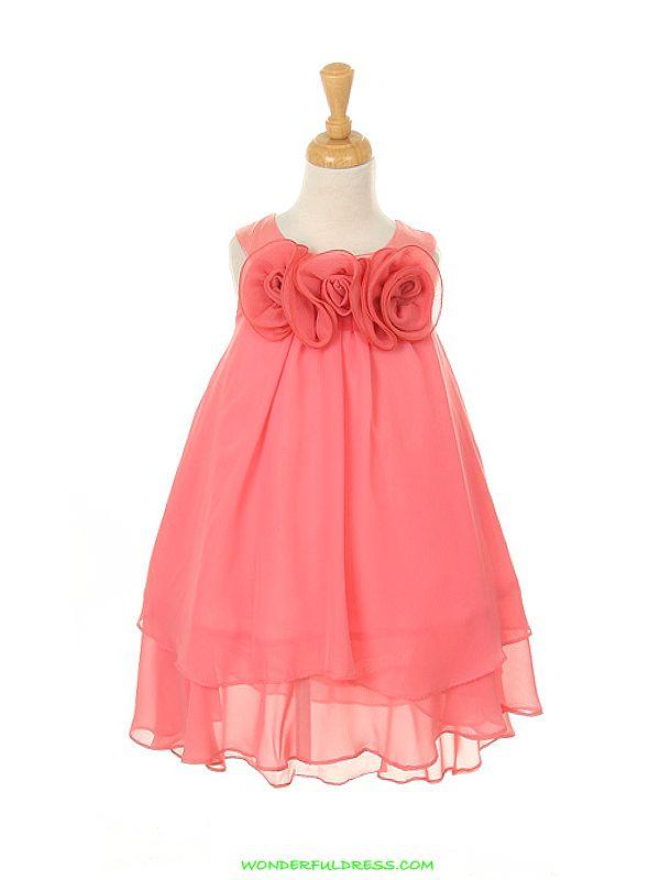 coral flower girl dress