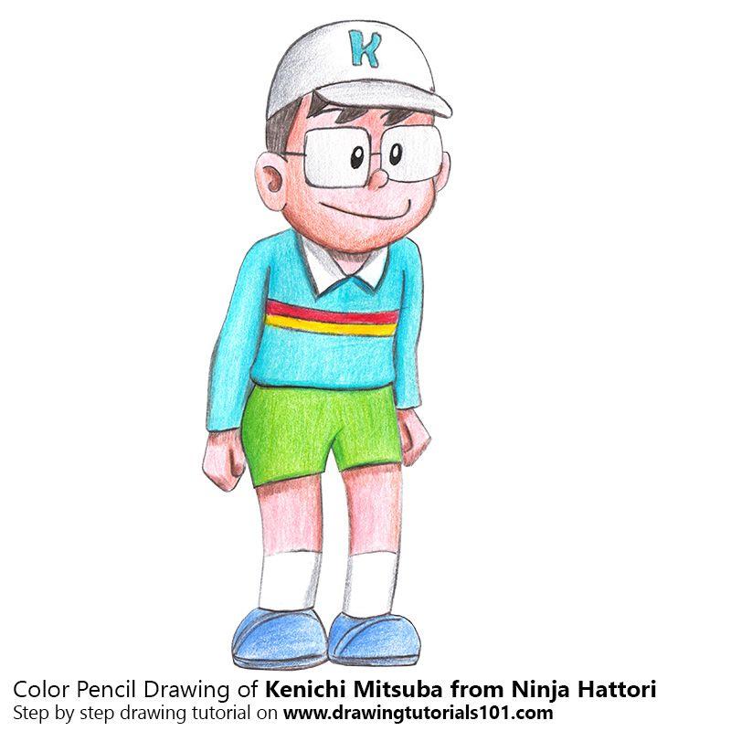 Kenichi Mitsuba From Ninja Hattori With Color Pencils Time Lapse