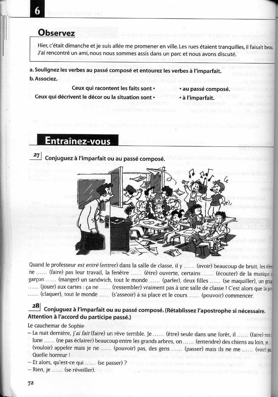 Pour Pratiquer L Imoarfait Et Ou Le Passe Compose Sheet Music French Class Class