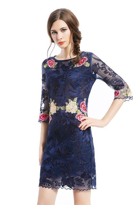 Joy EnvyLand Women Floral Sheath Cocktail Prom Party Bodycon Embroidered Dress