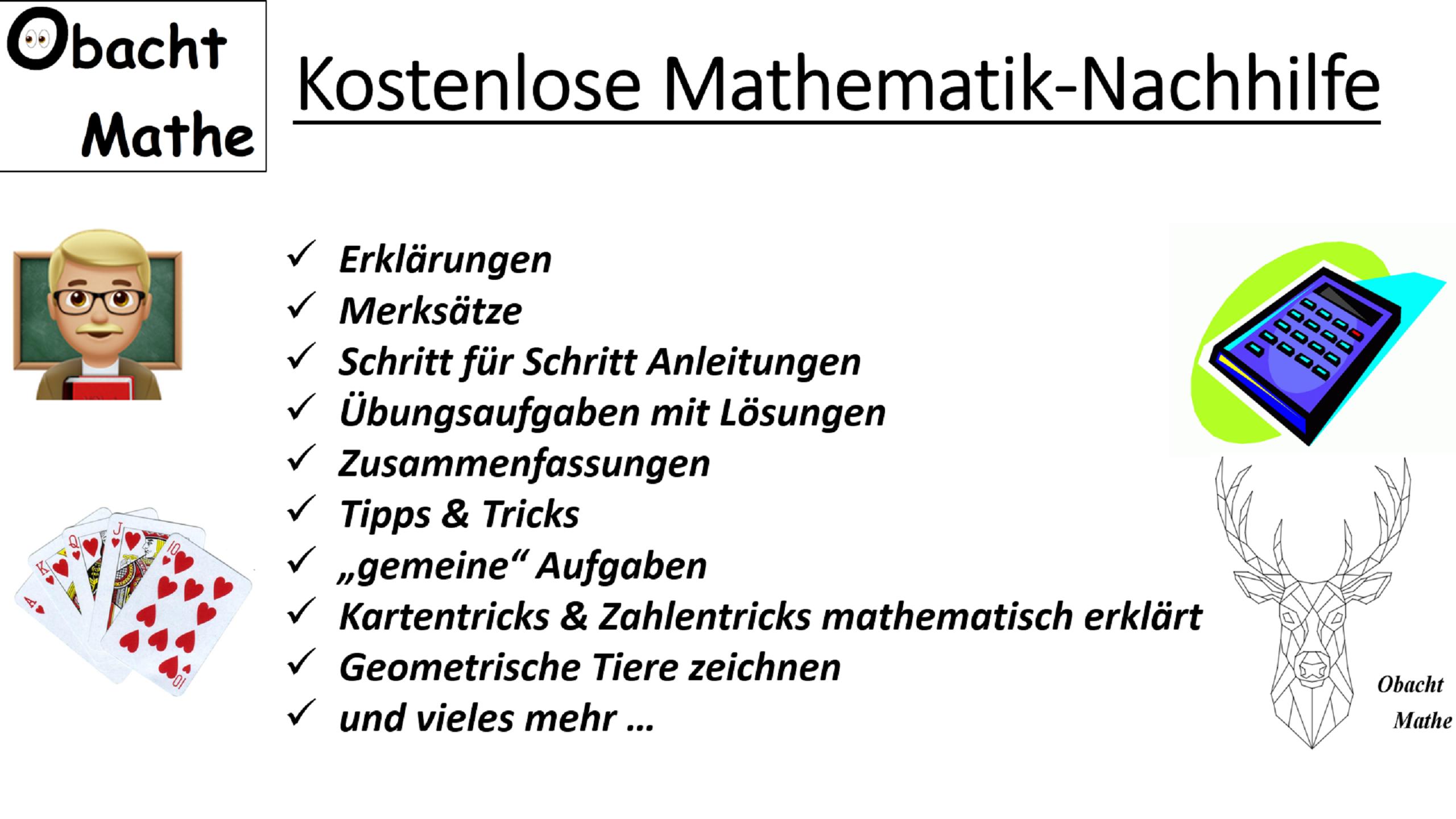 Obachtmathe Kostenlose Mathematik Nachhilfe Erklarungen Merksatze Schritt Fur Schritt Anleitungen Ubungsaufgaben Mit Nachhilfe Mathe Mathe Mathematik