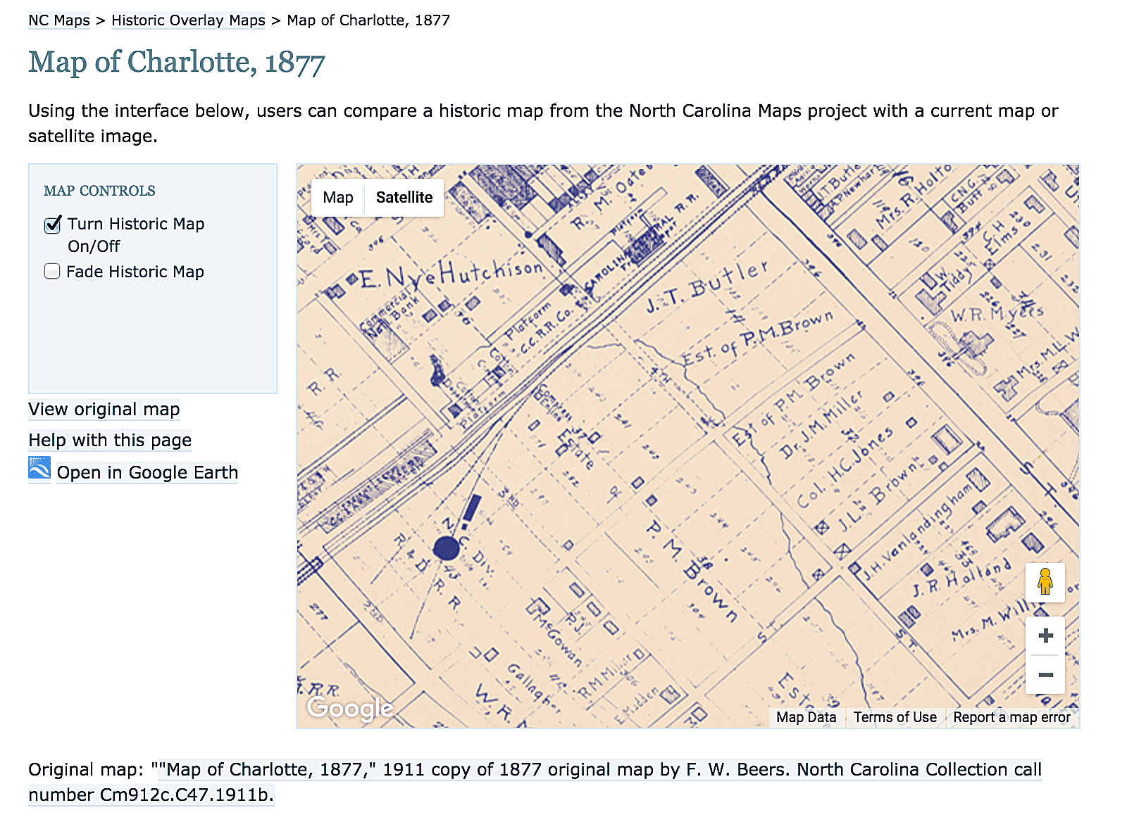 Historical Map Overlays for Google Maps and Google Earth