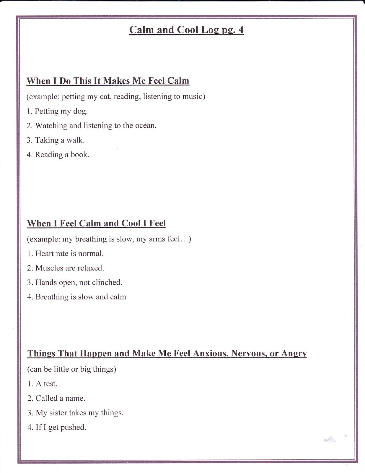 Free Download Impulse Control Worksheets for Adults