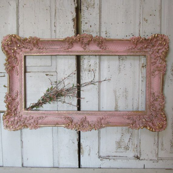 Ornate pink distressed frame wall hanging hand by AnitaSperoDesign ...