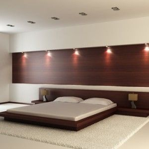 Bedroom Bed Design And Woody Printed Double Bed Back Wall