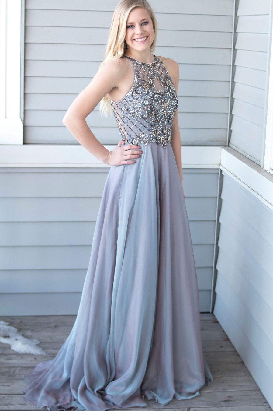 Luxurious Beads Grey Chiffon Long Prom Dress | Prom dresses ...