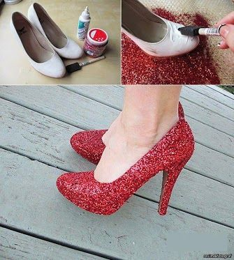 From plain to pretty! Make your old pumps into a stunning new pair. A little trick will do! Voila!    Posted by www.GoMadideas.com #GoMad