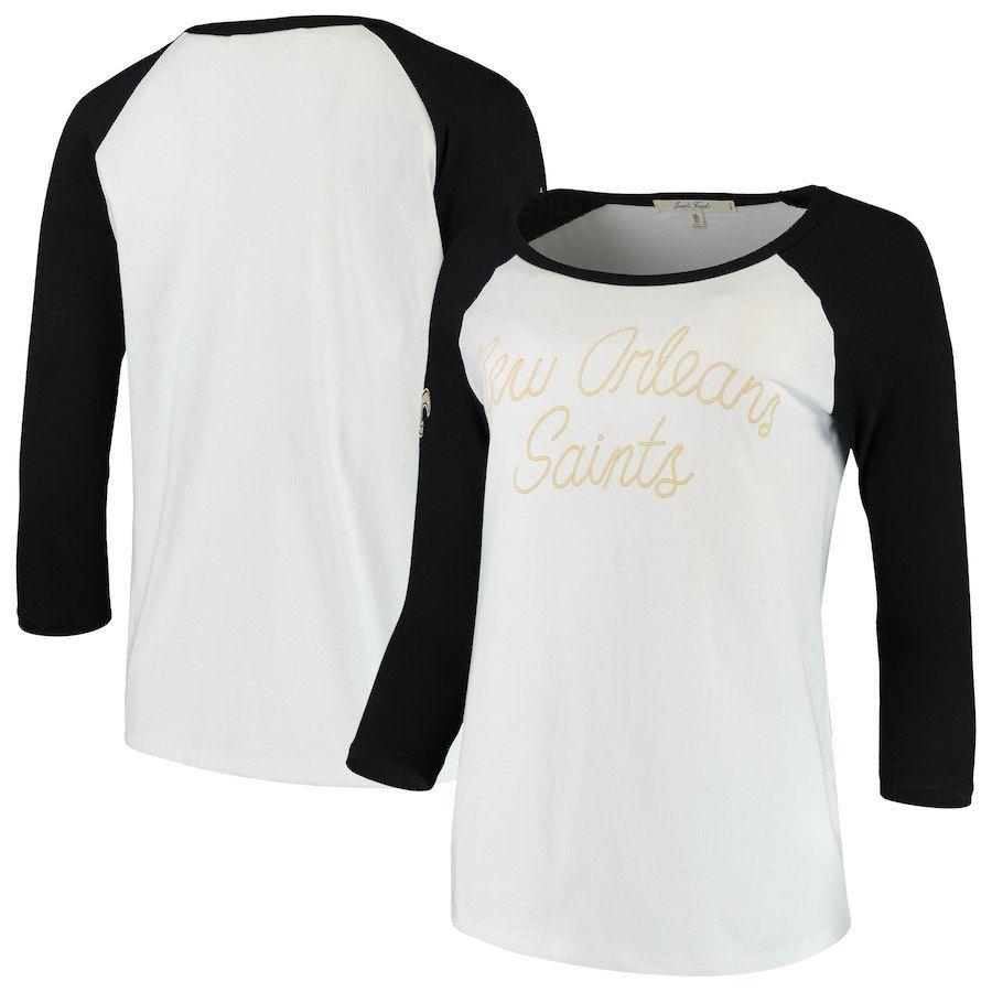 SIZE SMALL Women s New Orleans Saints Junk Food White Black Retro Script  Raglan 3 4-Sleeve T-Shirt c5f62f530