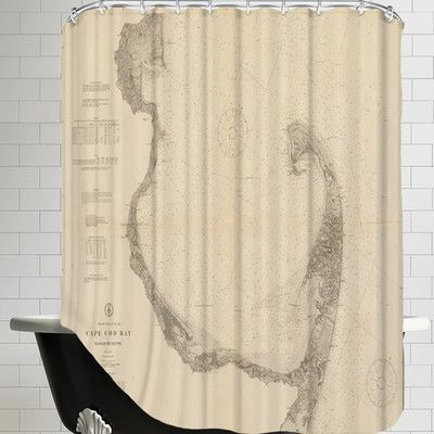 Americanflat Cape Cod Bay Map Shower Curtain Shower Curtain