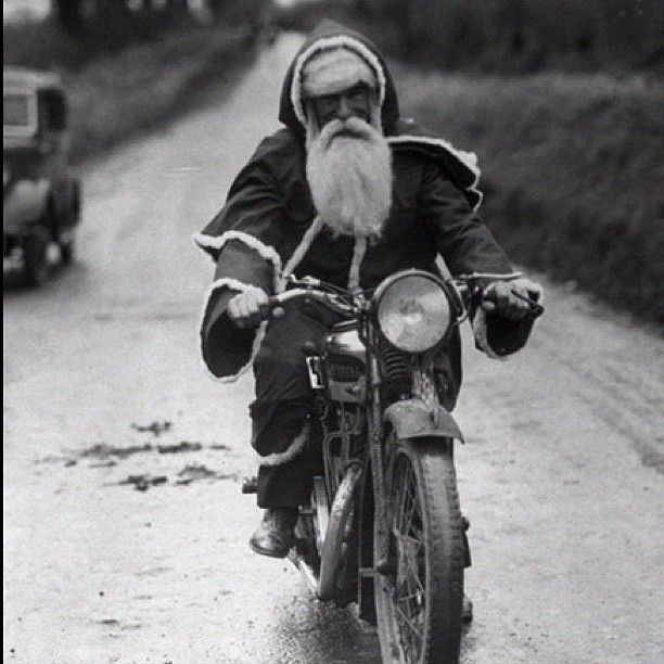 Vintage motorcycle Santa