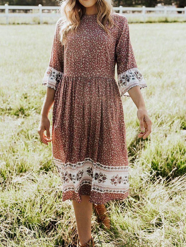 Country Floral 3 4 Sleeve Midi Dress Midi Dress With Sleeves Midi Ruffle Dress Lace Dress With Sleeves [ 1024 x 771 Pixel ]