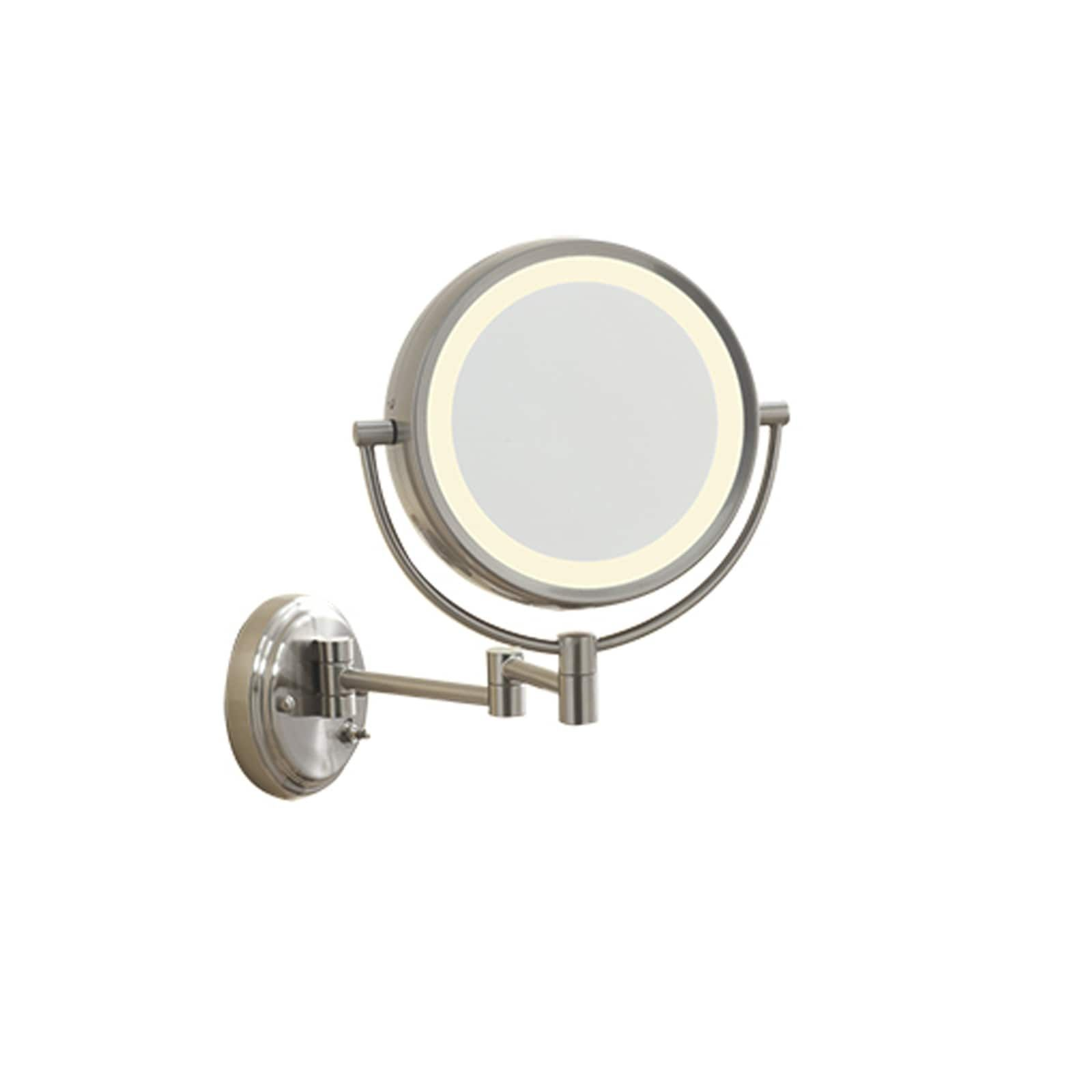 Conair Lighted 7x Brushed Nickel Wall Mount Fluorescent Hotel