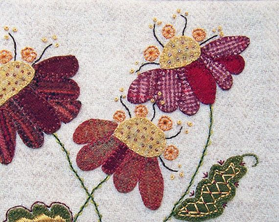 Pretty Wool Coneflowers Applique