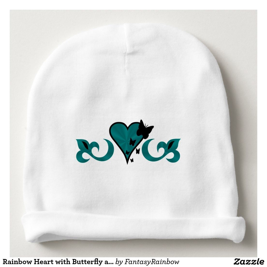 #NEW #Rainbow #Heart with #Butterfly and #Lily #Baby #Beanie - #Christmas #Gift #forKids #Offer 20% Off All Orders | 50% Off T-Shirts, Mugs, Pillows, Tote Bags & Stickers! TODAY ONLY Use Code: ZAZCRAZYFIVE