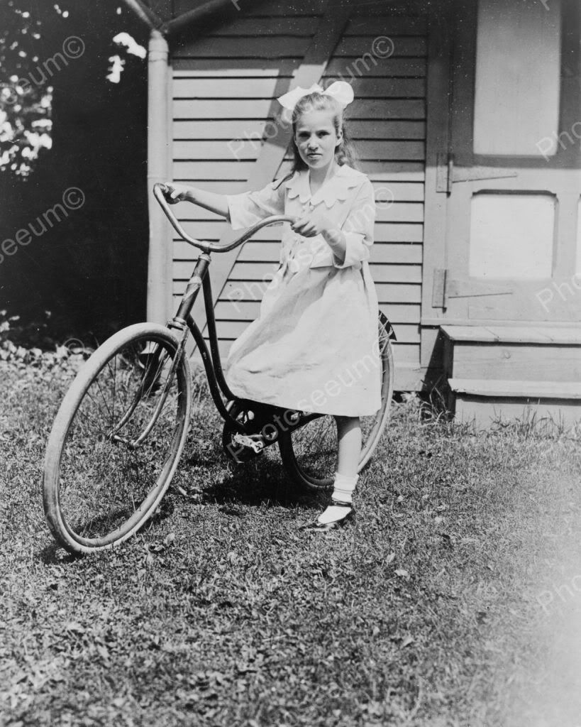 Girl With Vintage Bike 1920s Vintage 8×10 Reprint Of Old Photo