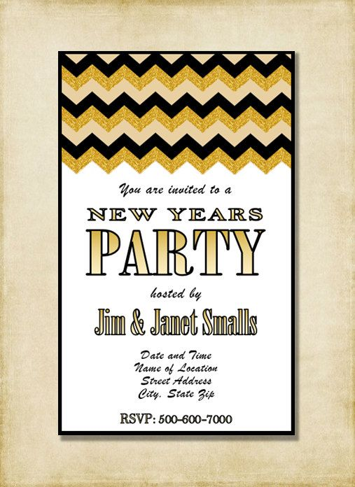 New years party invitation black gold tan chevron modern new new years party invitation black gold tan chevron modern new years stopboris Choice Image