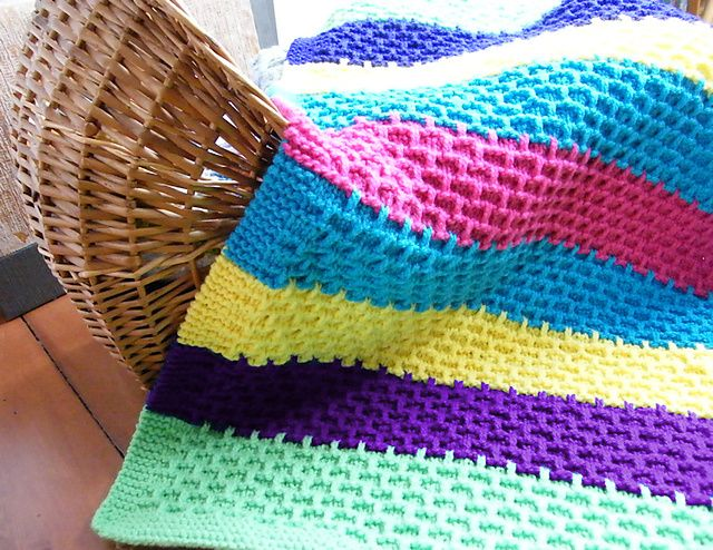 Ravelry: Striped Blanket with Bonus Hat pattern by Luise O'Neill