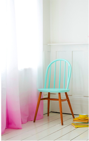 two coloured chair, ombre curtain