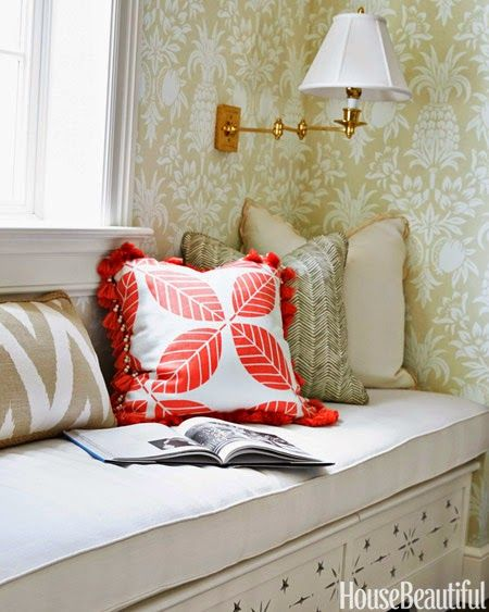 Wallpaper Border Designer Whimsical Ladies at the Beach with Coral Trim