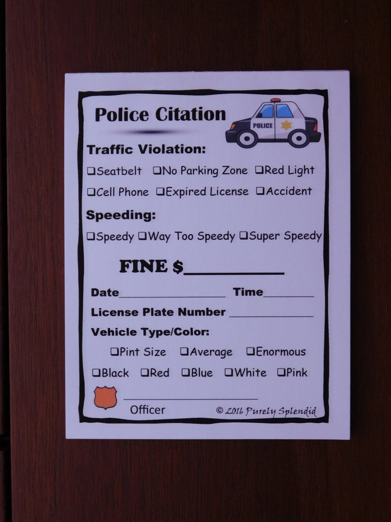 Fake Speeding Ticket Form Police Pretend Play Props Traffic Etsy In 2021 Speeding Tickets Favorite Things Gift Dramatic Play