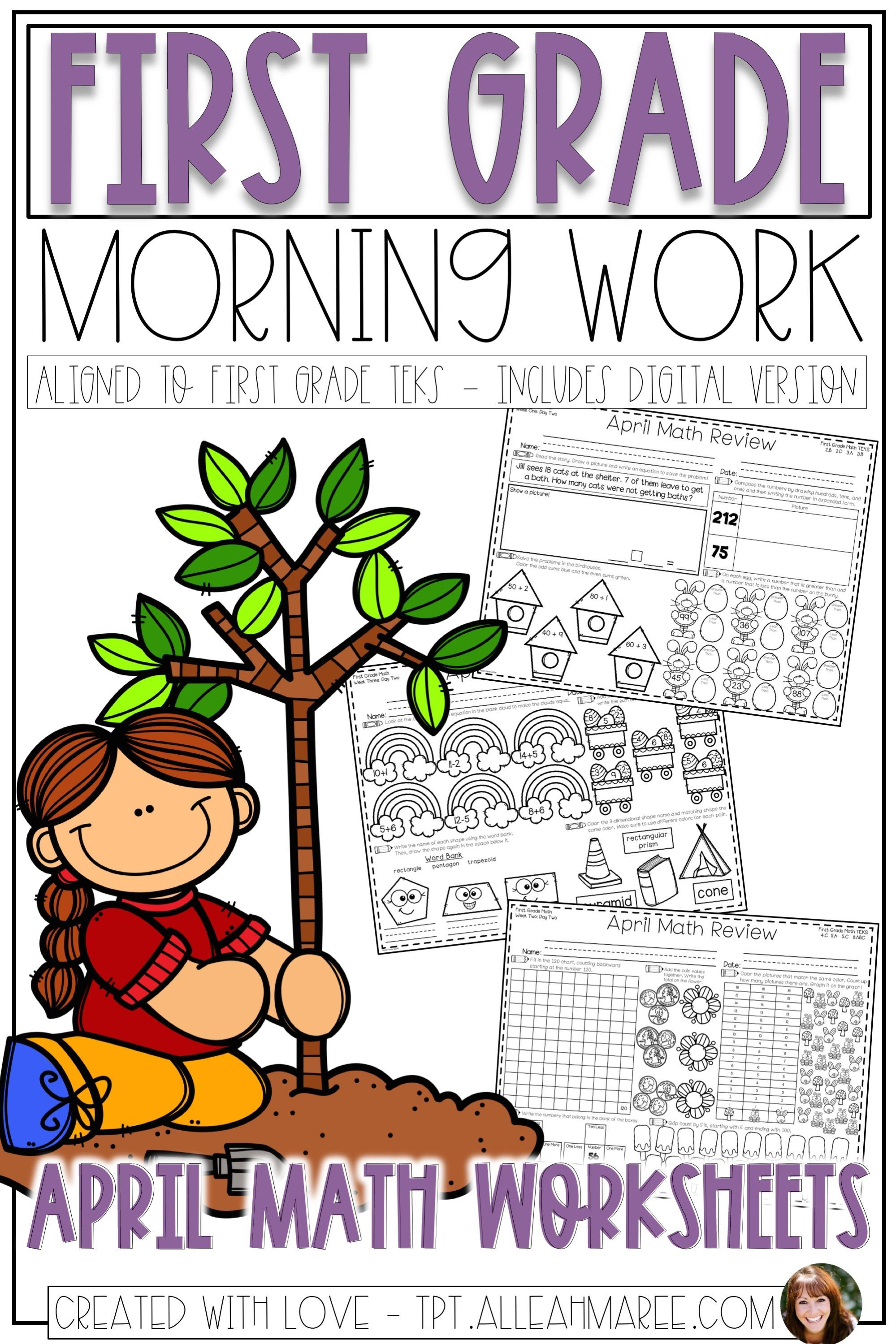 First Grade Morning Work Math Review Worksheets For April