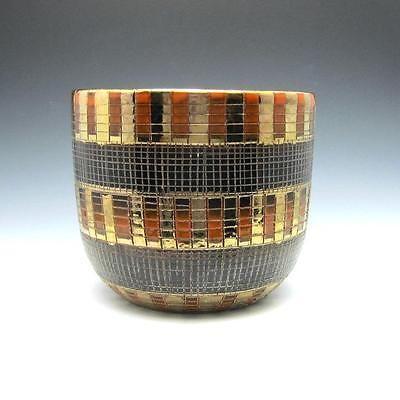 Vintage-Aldo-Londi-for-Bitossi-Black-Orange-Gold-Sgraffito-Jardiniere-Planter