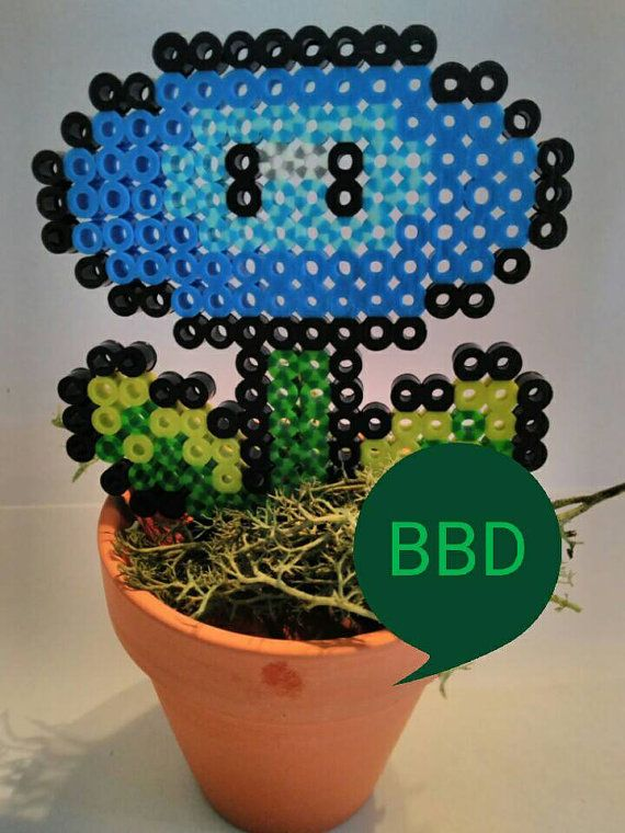 Potted Mario Brothers Ice Flower / Nintendo NES by BelovedBearsDen