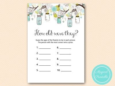 Tlc146 How Old Were Parents Tobe Mason Jars Baby Shower Game Coed