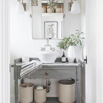 cottage style powder room with wallpaper and beadboard