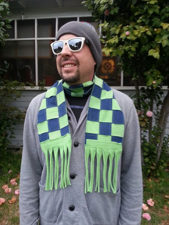 Green and Navy Men's Woven T shirt Scarf Upcycled by LAinstitches