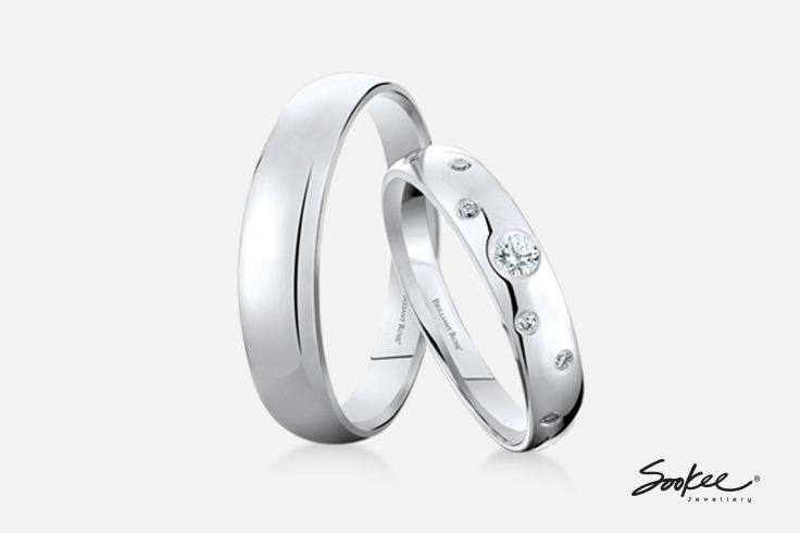 Br Eternal Love Wedding Bands In 18k White Gold Set With Brilliant Rose Diamonds