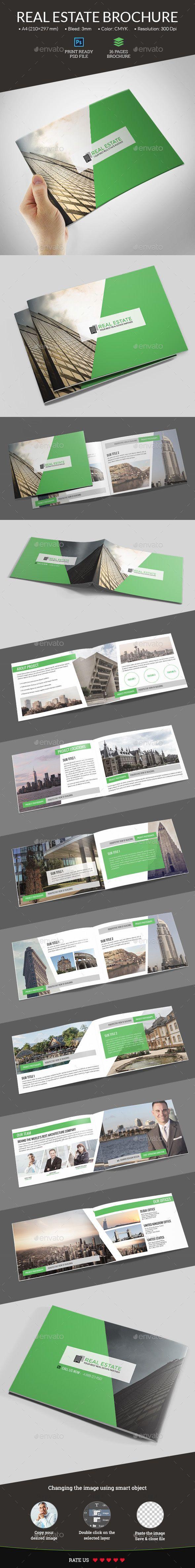 Real Estate Portfolio Brochure Template PSD #design #RealEstateBrochures #RealEstate