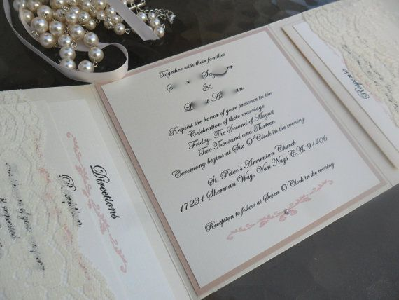 Tri Fold Pocket Invitation In Blush