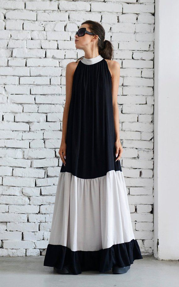 Black and Beige Long Dress/Sleeveless Maxi Black Dress/Loose Beige Kaftan/Two Color Casual Dress/Oversize Summer Tunic Dress/Collar Top