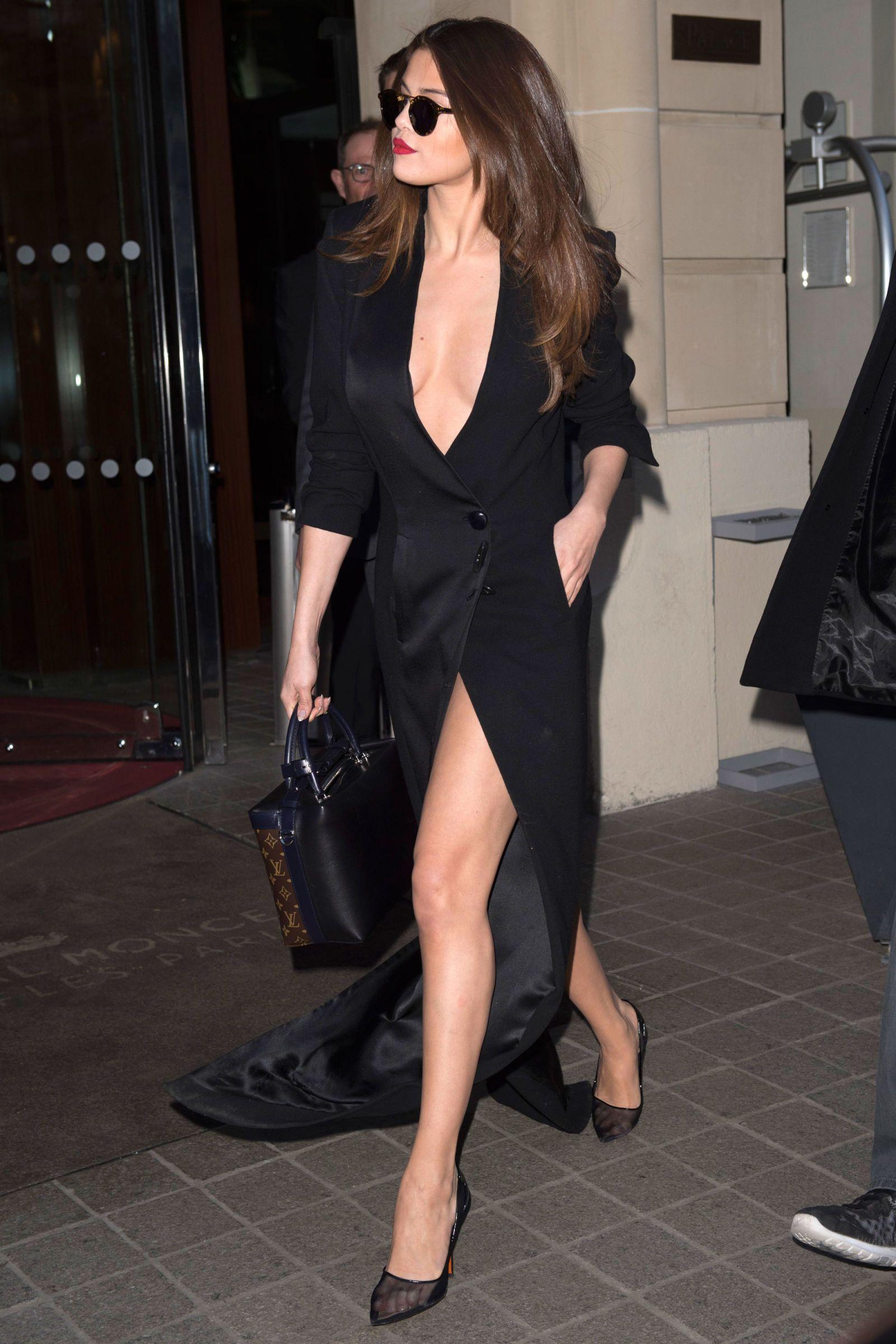 196e01e35 Selena Gomez In a RVDK/Ronald Van Der Kemp dress, Christian Dior sunglasses,