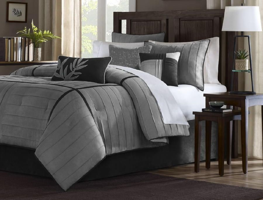 21-PC Comforter Curtain Gray Sheet Set Black Micro Suede King Bed in a Bag  New