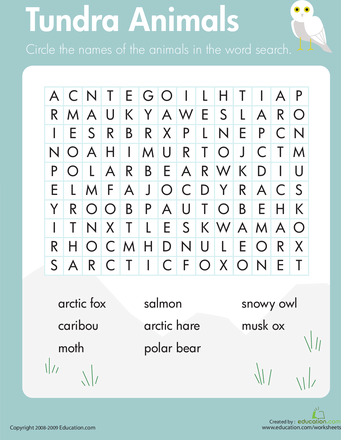 To Go With Science Biomes Worksheets Habitats Word Search Tundra Animals