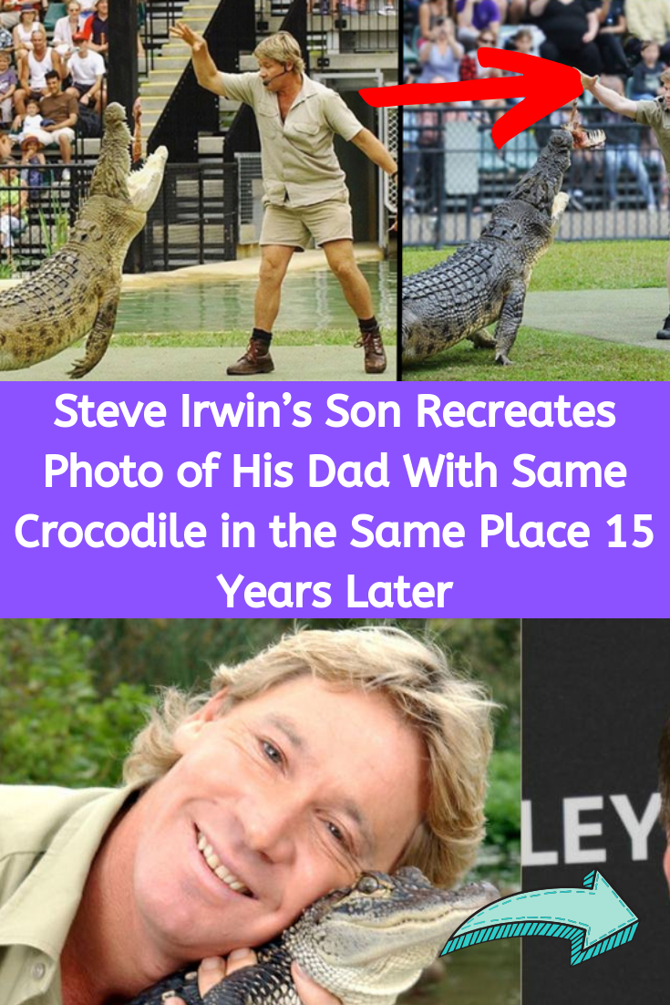 Steve Irwin S Son Recreates Photo Of His Dad With Same Crocodile In The Same Place 15 Years Later Photo Recreation Steve Irwin Celebrity Lifestyle