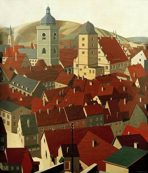 "CARL GROSSBERG - (German 1894–1940) - ""Marktbreit"" - 1931"