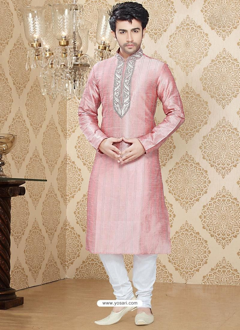 Men\'s Pink Art Silk Readymade Kurta Model: MKU650 | Kurta Pajama ...