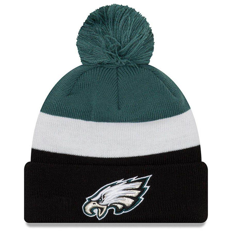 bb947920c6884 Men s Philadelphia Eagles New Era Midnight Green Black Triblock Cuffed Knit  Hat with Pom