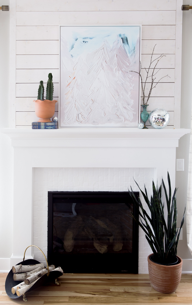 Neutral Trees Abstract Decor Living Room Decor Inspiration Fireplace Design