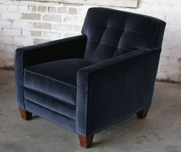 Velvet Tufted Club Chair In Navy