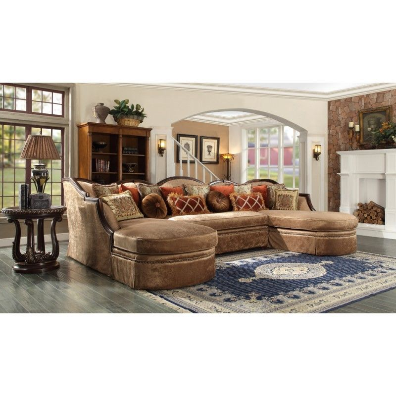 Ravena Hd 1626 Dual Chaise Wood Trim Sectional Sofa My House My